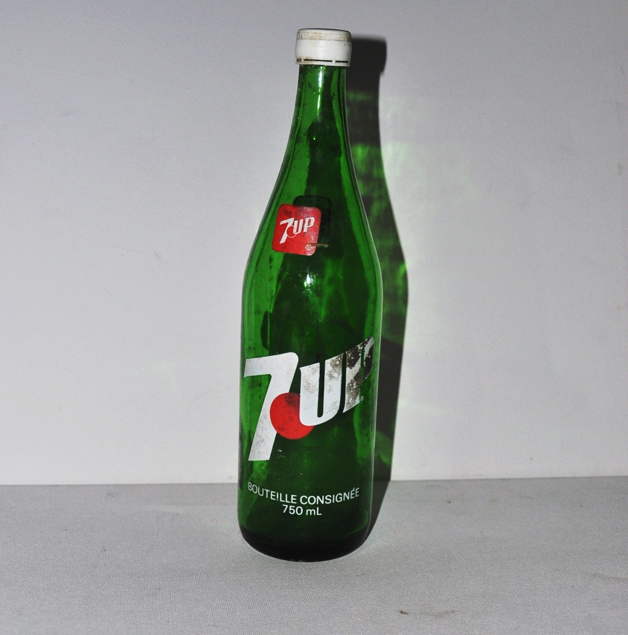 Vintage Large 1980s 7up Glass Bottle 12 Tall