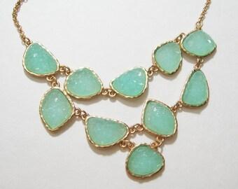 Mint Seafoam Turquoise Geode Druzy Drusy Agate Raw Stone Bib Statement Necklace