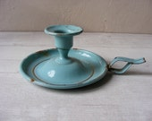 Vintage French Blue TURQUOISE Enamel Candle Holder shabby chic - GrisSourisBrocante