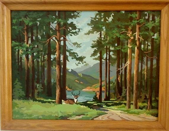Deer Mountain Stream Paint By Numbers Painting Vintage