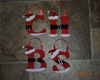 Hand Painted Wooden Santa Ornaments All Letters Available Christmas Holiday