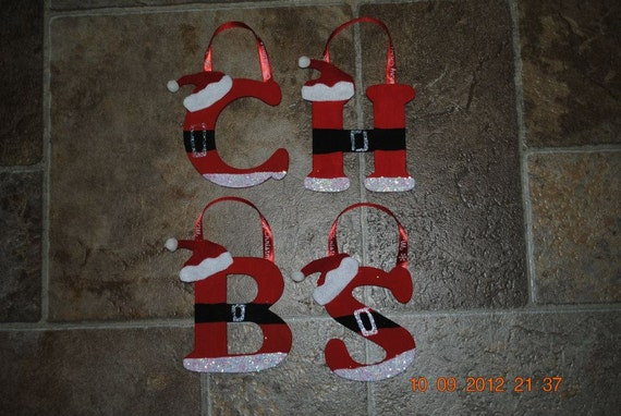 items similar to hand painted wooden santa ornaments all With wooden letter ornaments