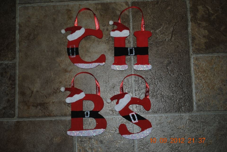 hand painted wooden santa ornaments all letters available With wooden letter christmas ornaments