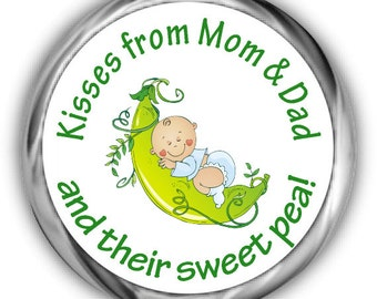 Sweet Pea Baby Shower Hershey Kisses Stickers - Peas Pod Baby Shower Stickers - Boy Personalized Baby Shower Kiss Favors