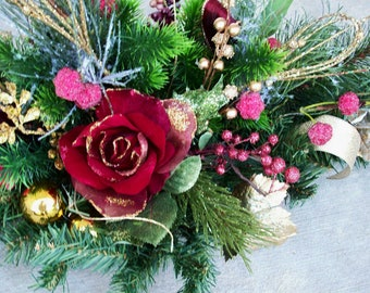 Large Christmas Holiday Centerpiece With Burgandy Roses