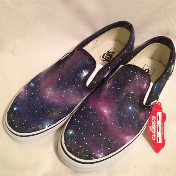 White Sole Galaxy Slip On Vans