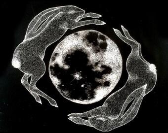 Original Scraperboard Illustration - Hares Jumping Around Moon