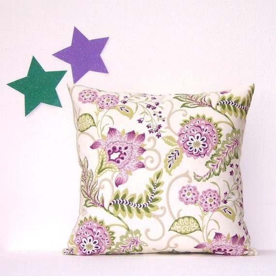 cream lavender green floral pillow cover 18 x 18. Black Bedroom Furniture Sets. Home Design Ideas