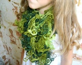 Green Olive Knitted Scarf winter and autumn fashion - Knitting ruffle scarf for Woman and Girls - Handmade Knit - KatrinKnitting