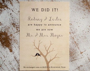 Rustic Wedding Announcement, Wedding Announcements  - the Lovebird  - elopement announcement, eloped, lovebirds, rustic postcard, unique