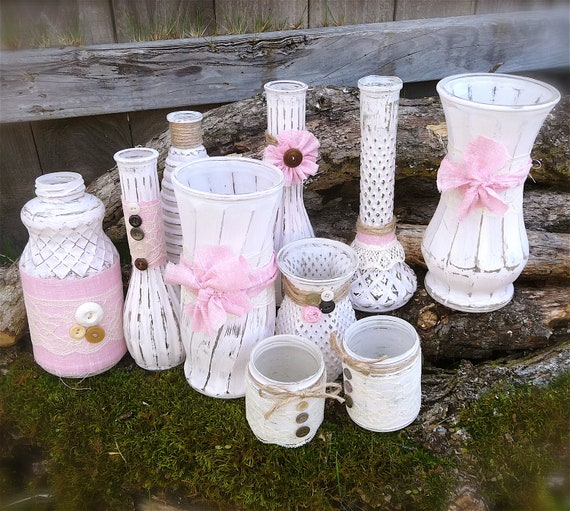 Shabby Chic Wedding Vases Set, Pink and White Lace