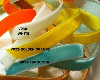 3/8 Velvet Ribbons- 5 yard. U Choose in 22 colors