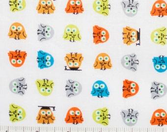 Owl Fabric - Happy Drawing - Ed Emberley Fabric - Cloud 9 Organic Quilting Cotton - Half Yard - SALE