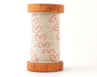 1 YD - Hearts - 12mm Shinzi Katoh Linen Tape