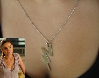 "Silver Thunderbolt Lightning Bolt Necklace with 28"" chain"