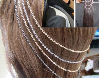 Silver Gold and Gunmetal Four Strand Chain Head Piece Hair Headband Double Comb Chain