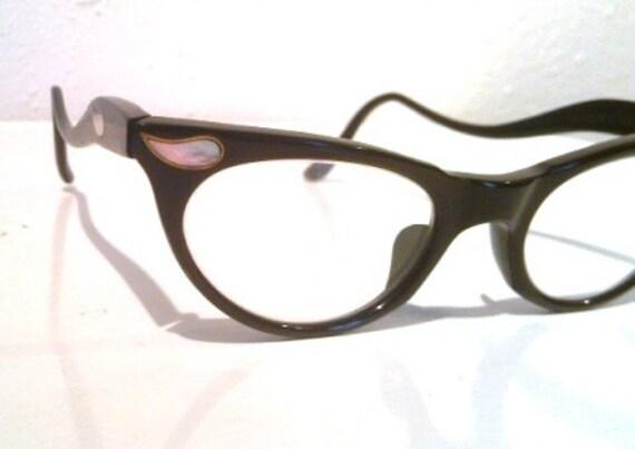 50s Rockabilly Black Cat Eye Mother of Pearl Retro Eyeglasses
