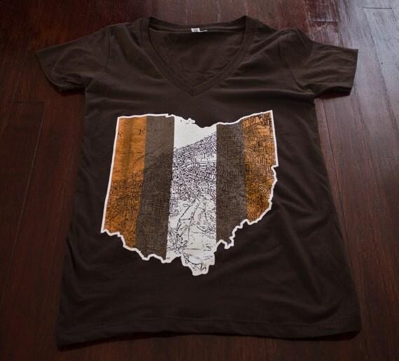 Cleveland Ohio map Ladies Jr fit V-Neck