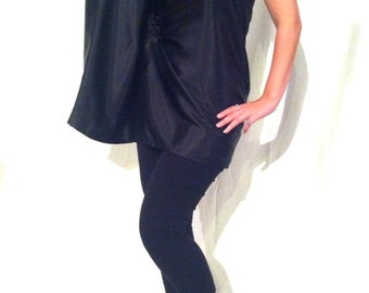 Black Satin One Sleeve Tunic/dress - Sz Sm. B0020