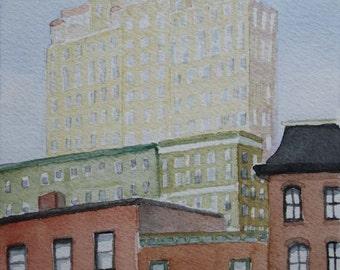 "Philadelphia Cityscape - 5""x7""- Watercolor Painting"