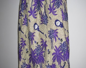Purple Patterned CocoNut Midi Skirt