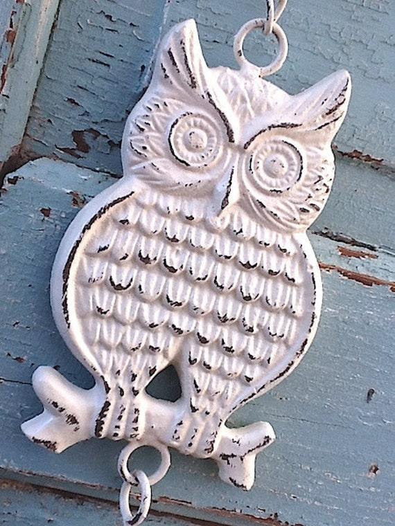 Items Similar To Owl Home Decor Garden Bell Creamy White