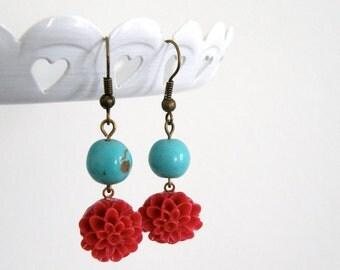 Crimson Red & Turquoise Dahlia Flower Dangle Earrings, Vintage Inspired, Bridesmaid Gift, Friend Gift