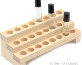 Wooden Display Rack for Fragrance or Essential Oils - 3 Row Bottle Display Rack - Holds 24 Bottles