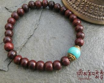 Rosewood  Bracelet Mala with capped turquoise guru bead mala bracelet