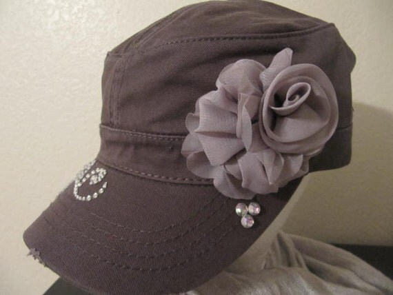 gray cadet style hat with by goldendreamfinds on etsy