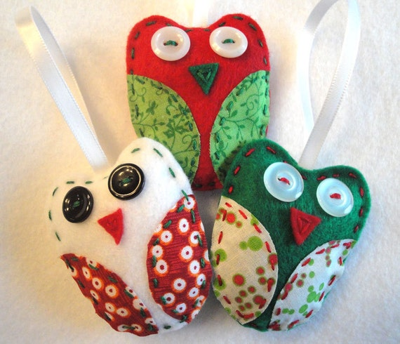 Christmas Tree Shaped Ornaments Are Handmade From 100 Recycled Eco Friendly Felt Hand: Felt Ornaments Holiday Owl Trio By INeedAStitch On Etsy