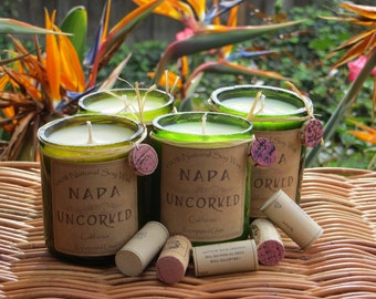 Candles made out of recycled wine bottles
