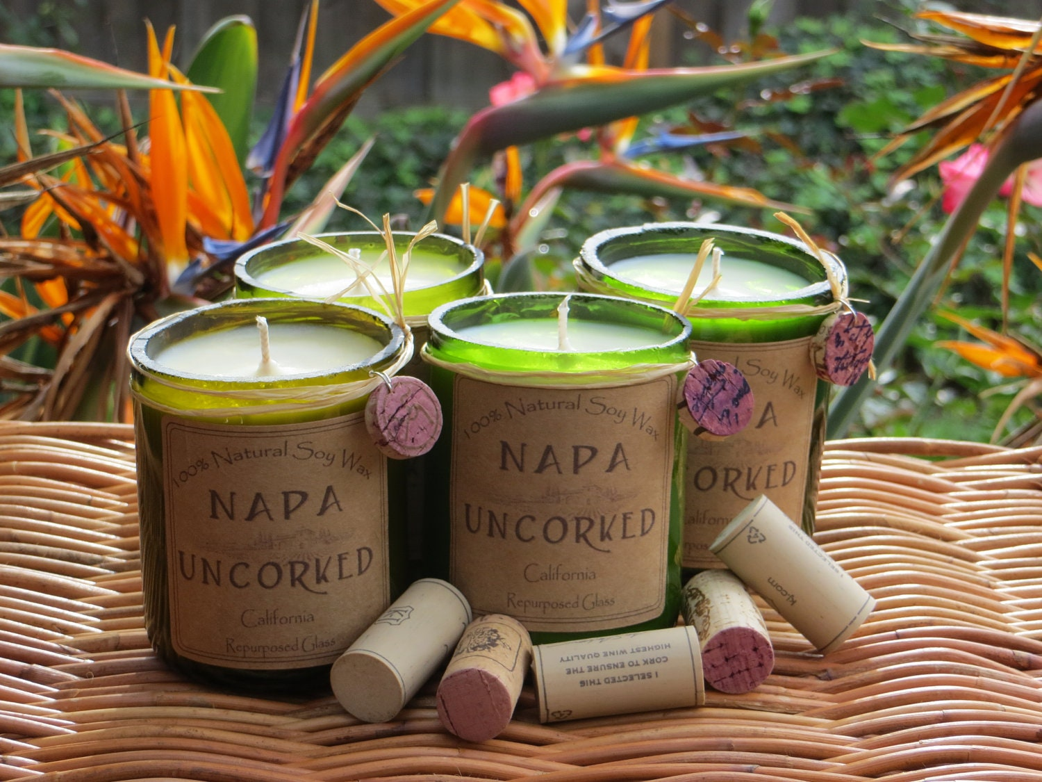 Candles made out of recycled wine bottles by Napauncorked on Etsy