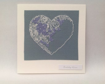 Cross stitch pretty heart birthday card and the wording 'Birthday kisses'