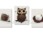 Coffee Owl Artwork Set of 3 8x10 Art Prints  Coffee Bean Owl Coffee Art - FinalTouchesArtwork