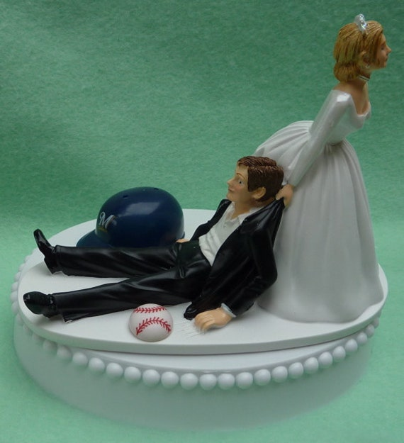 Wedding Cake Topper Milwaukee Brewers Baseball Themed w/ Bridal Garter Humorous Bride Groom Sports Fans Reception Centerpiece Gift Idea Fun