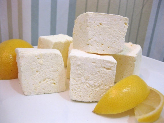 Lemon marshmallows 1 dozen gourmet homemade by sweetjumbles for Homemade gourmet marshmallows recipe