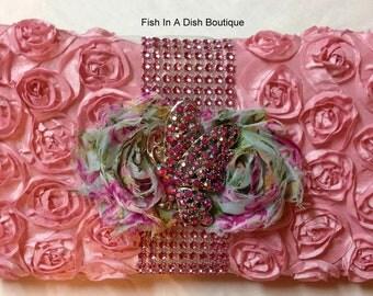 Pink Baby Taffeta Rosette Wipes case/clutch, Baptism, Newborn gift, Baby Shower