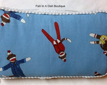 Blue sock monkey fabric covered Wipes case/clutch,Newborn gift, Baptism, Baby Shower Gift
