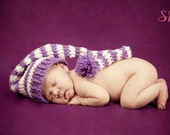 Crochet Newborn Long Tailed Elf Hat/ Stocking Hat - MADE TO ORDER - Any Color Combo