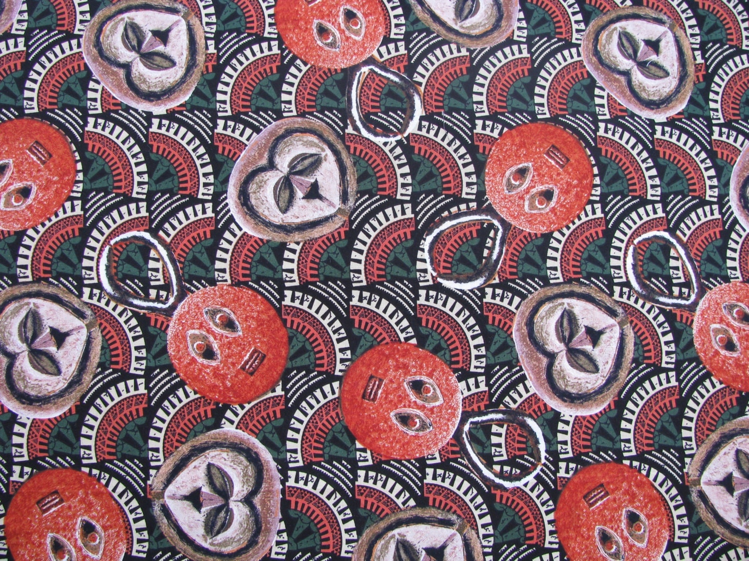 Sale african masks cotton fabric 1 yard by for Fabric for sale by the yard