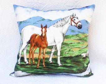 SALE Horse cushion cover Horse Pony Foal pillow tea towel linen