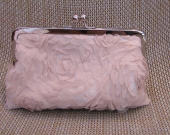 Silk And Chiffon Clutch,pink Wedding Clutch,Lace Clutch,Chiffon,Bridesmaid Clutch