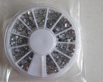 OD-89 3D 1 Wheel 4 Sizes Round Crystal Resin Rhinestone Decoration in wheel Shiny Nail Decoration