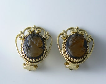 Vintage Whitting Davis Co 1949 Cameo Glass Goldtone Clip On Earrings Signed  Unique vintage, antique, costume and estate jewelry.