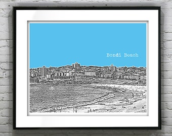 Bondi Beach New South Wales Australia Poster Art Skyline Print