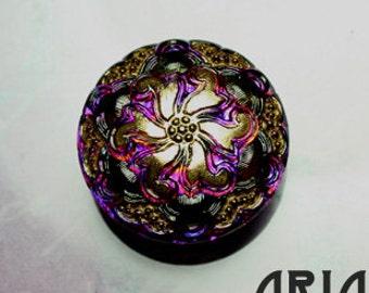 CZECH GLASS BUTTON: 27mm Nouveau Lacy Flower Handpainted Czech Glass Button, Pendant, Cabochon (1)