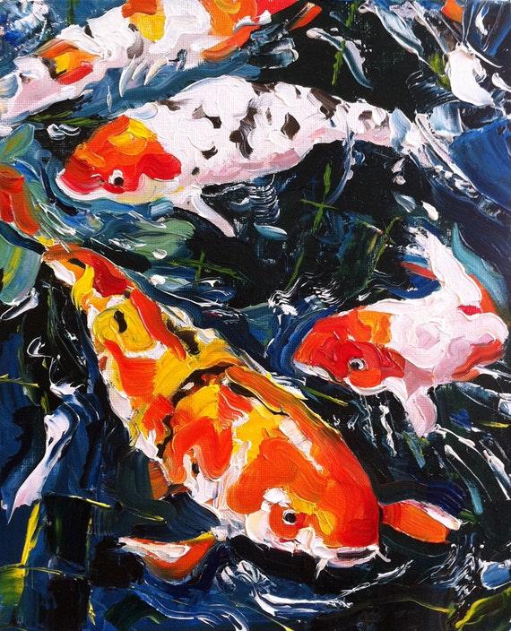 Art painting original oil koi pond 8x10 koi pond art for Japanese koi art prints