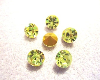 Vintage Glass Jonquil Light Yellow colour Round rhinestone Chaton foiled glass jewels approx 8mm pointed back -6 pieces
