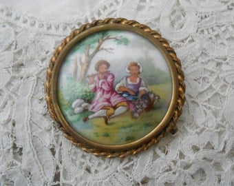 Limoges porcelain brooch romantic scene